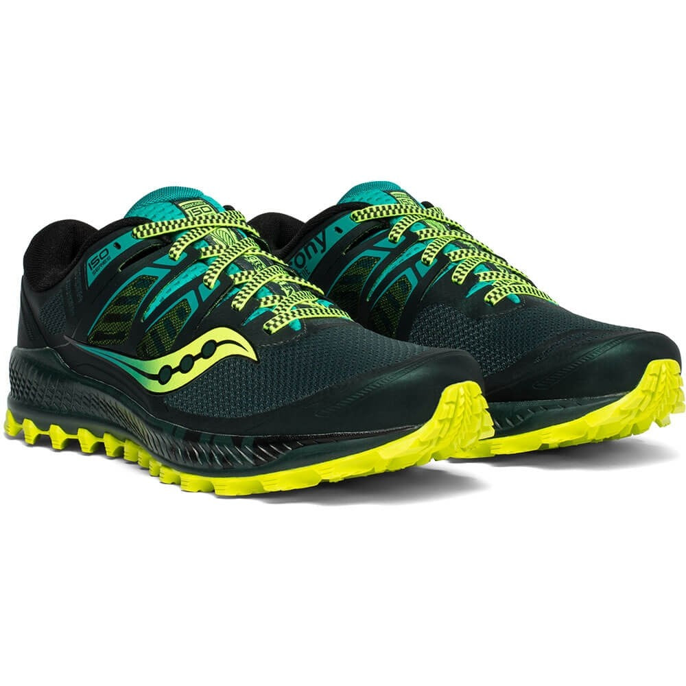 Saucony Men's Peregrine ISO Trail Running Shoes Green / Teal - achilles heel