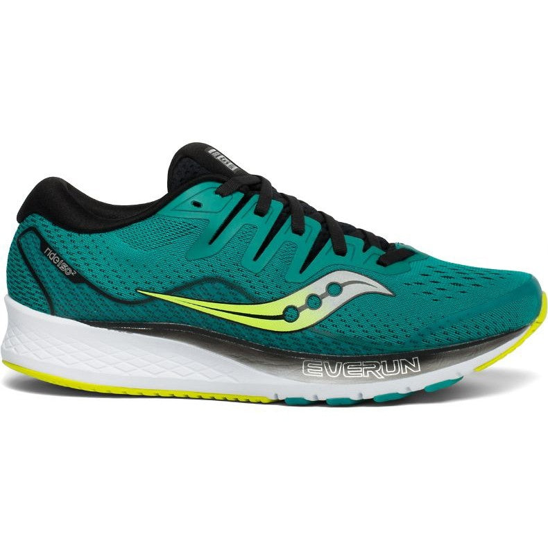 Saucony Men's Ride ISO 2 Running Shoes Green Teal / Black - achilles heel