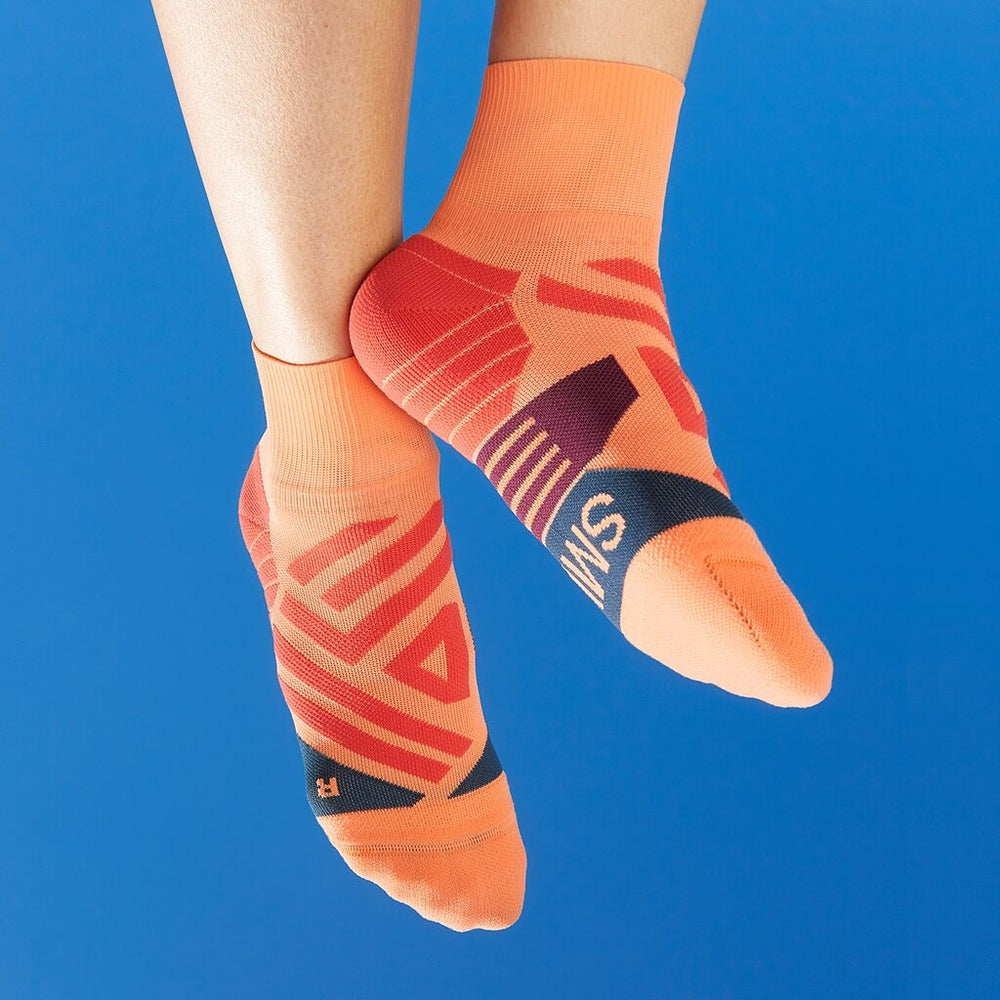 On Women's Mid Sock Coral & Navy - achilles heel