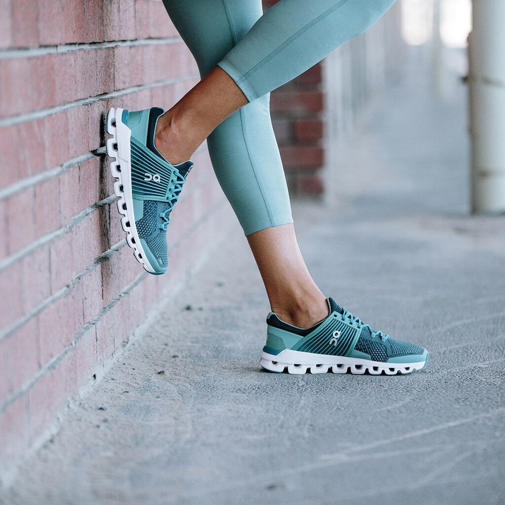 On Women's CloudSwift Running Shoes Teal /  Storm - achilles heel