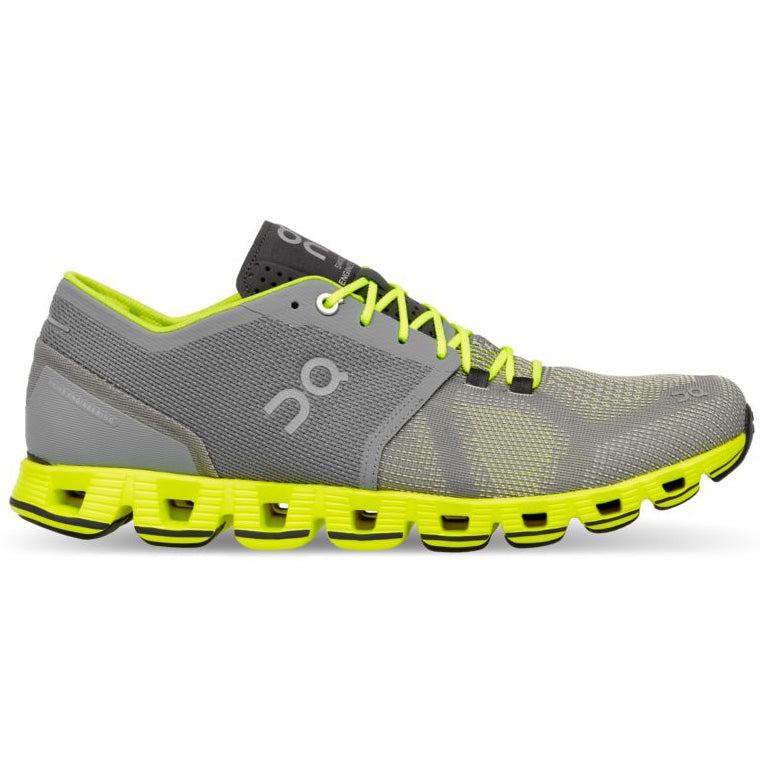 On Men's Cloud X Running Shoes Grey / Neon