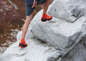 On Men's CloudVenture Trail Running Shoes Flare /  Dawn - achilles heel