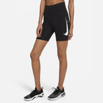 Nike Women's Swoosh Run 7 Inch Tight Shorts Black / Reflective Silver - achilles heel