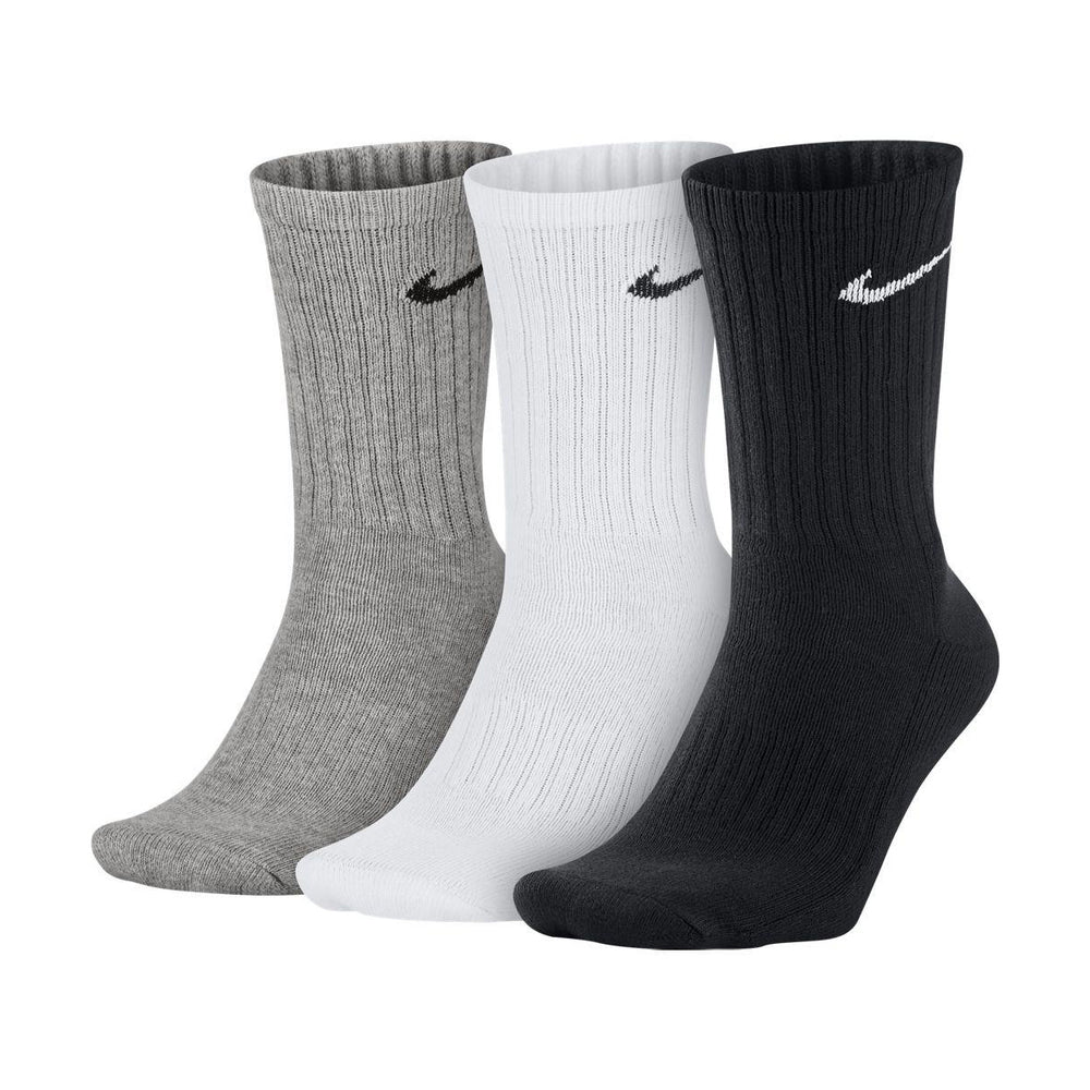 Nike Cushion Cotton Crew Socks 3 Pack White / Black /  Grey - achilles heel