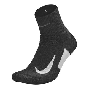 Nike Elite Cushion Quarter Sock Black /  White - achilles heel