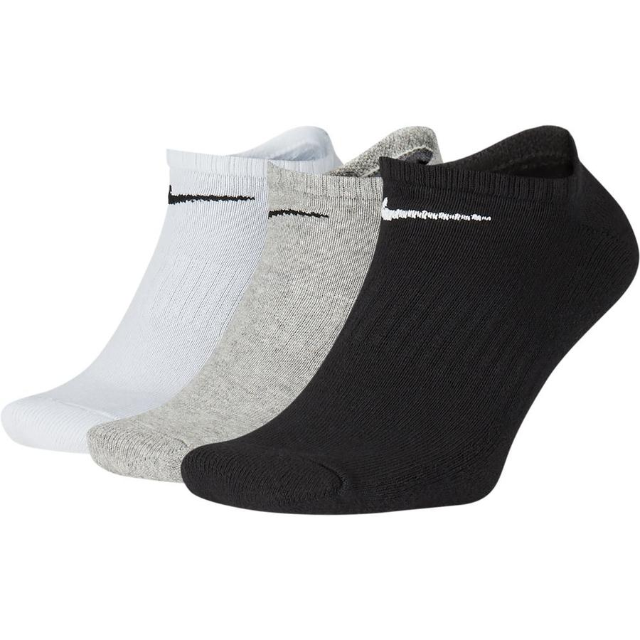 Nike Everyday Cushioned No-Show Socks 3 Pack Black  / Grey / White - achilles heel