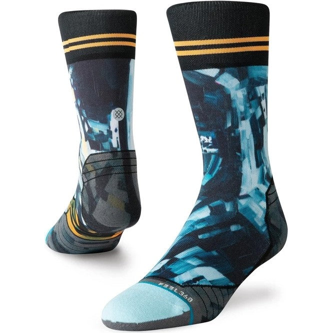 Stance Men's Kagan Moon Crew Run Socks Blue / Black - achilles heel