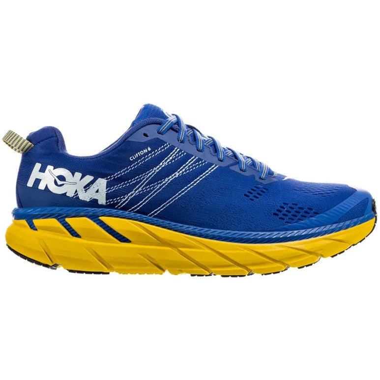 Hoka Men's Clifton 6 2E Width Running Shoes Nebulas Blue / Lemon