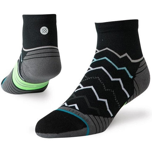 Stance Men's Great Plains Quarter Run Socks Black - achilles heel