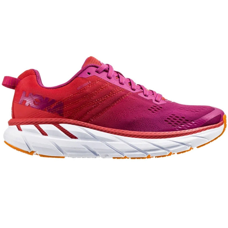 Hoka Women's Clifton 6 D Width Running Shoes Poppy Red  / Cactus Flower - achilles heel