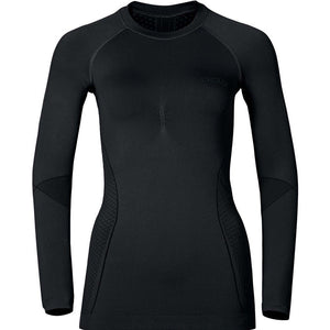 Odlo Women's Evolution Warm Baselayer Crew Top Black - achilles heel