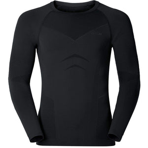 Odlo Men's Evolution Warm Baselayer Crew Top Black - achilles heel