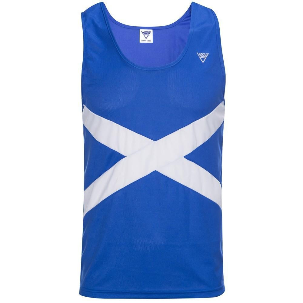Viga Scotland Running Vest Men's Royal Blue & White - achilles heel