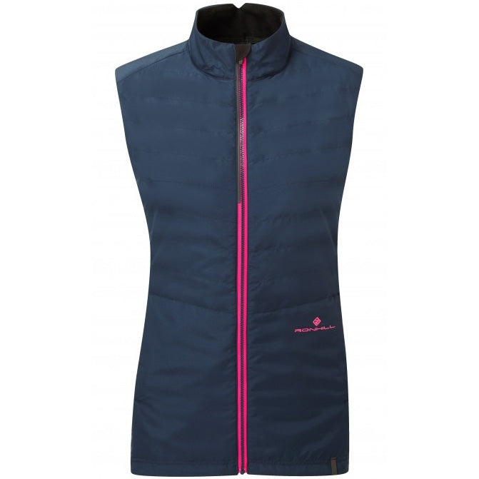 Ronhill Women's Stride Winter Gilet Deep Navy & Azalea AW18