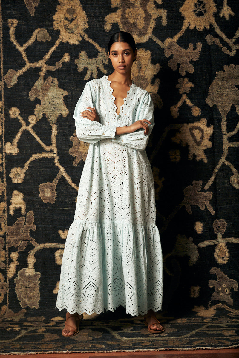 Lunar Silk Wrap Dress- Blue