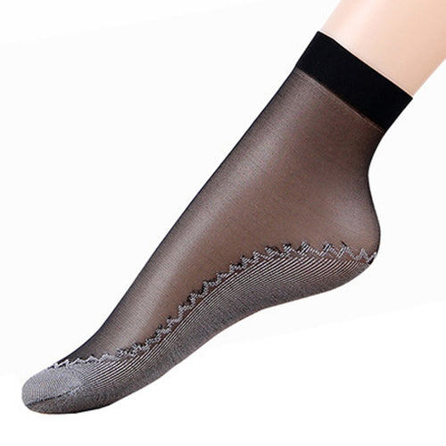 Velvet Silk Women Socks Cotton Bottom Soft Non Slip Sole 12 Pairs - LoveCuteStyle
