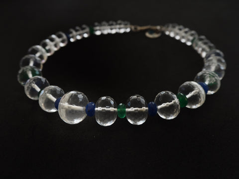 Rock crystal quartz and blue and green jade necklace