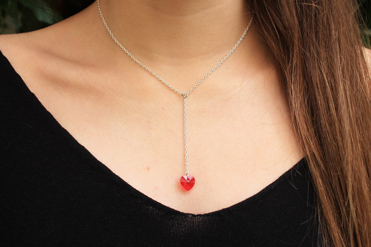 Swaroski - Swarovski crystal heart with silver chain necklace