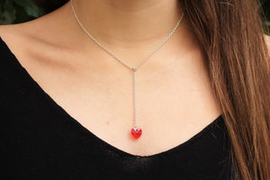 Silver chain necklace with swarovski crystal heart pendant