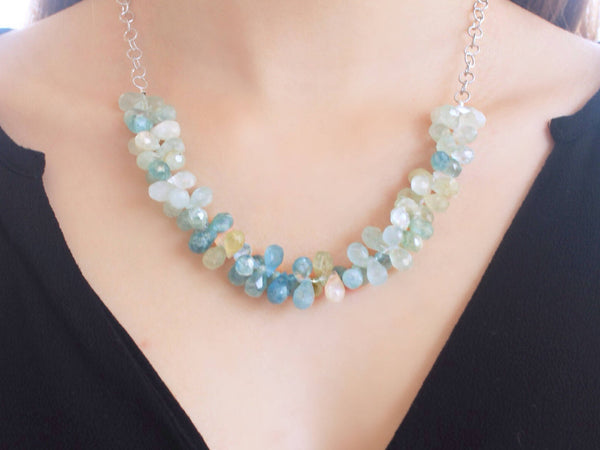 Aquamarine briolette and sterling silver necklace