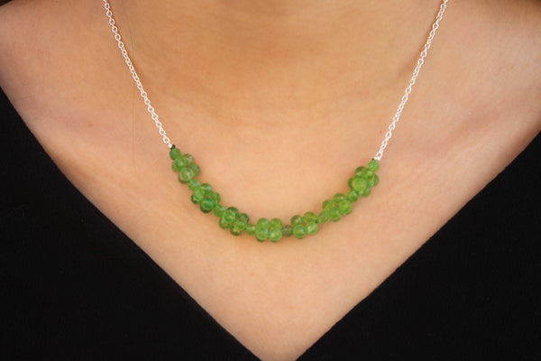 Peridot and silver chain necklace