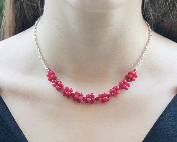 Ruby - Ruby and silver chain necklace