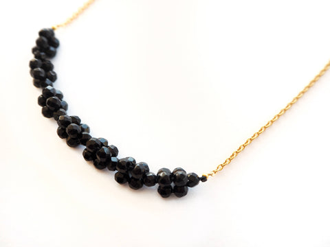 Onyx and silver chain necklace