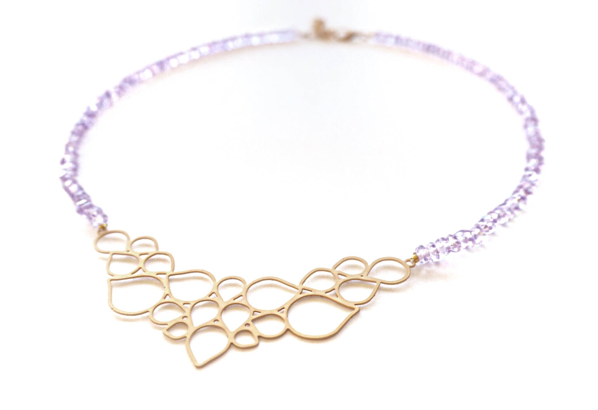 Amethyst quartz AA rondelles and boheme golden center necklace