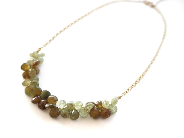Garnet - Tsavorite garnet briolette and sterling silver chain necklace
