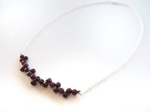 Garnet - Rhodolite garnet and silver chain necklace