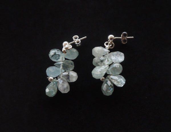 Aquamarine brioletes pendant silver earrings