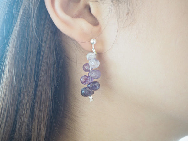 Amethyst quartz briolettes pendant and silver earrings