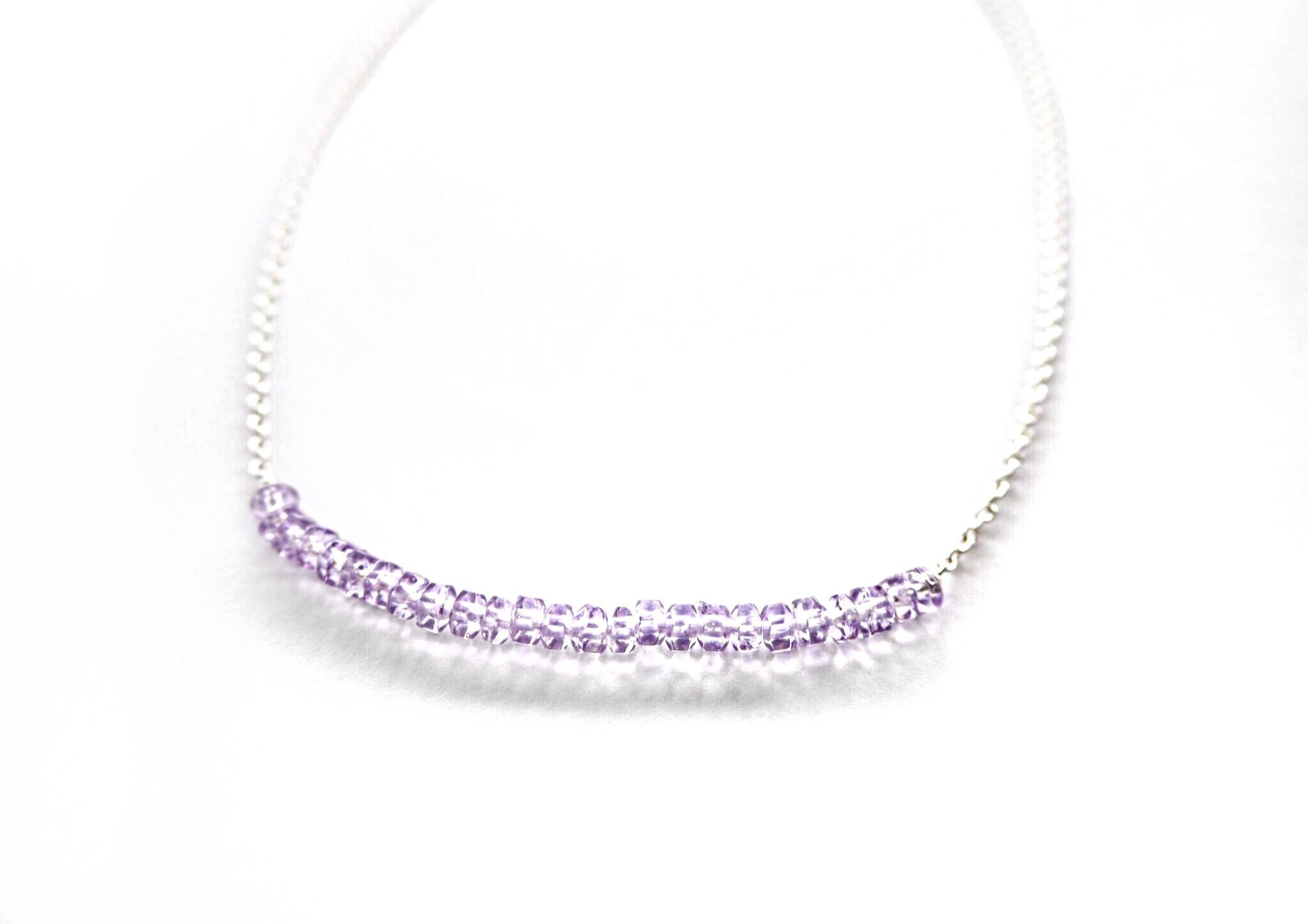 Amethyst - silver chain necklace with amethyst quartz rondels centre