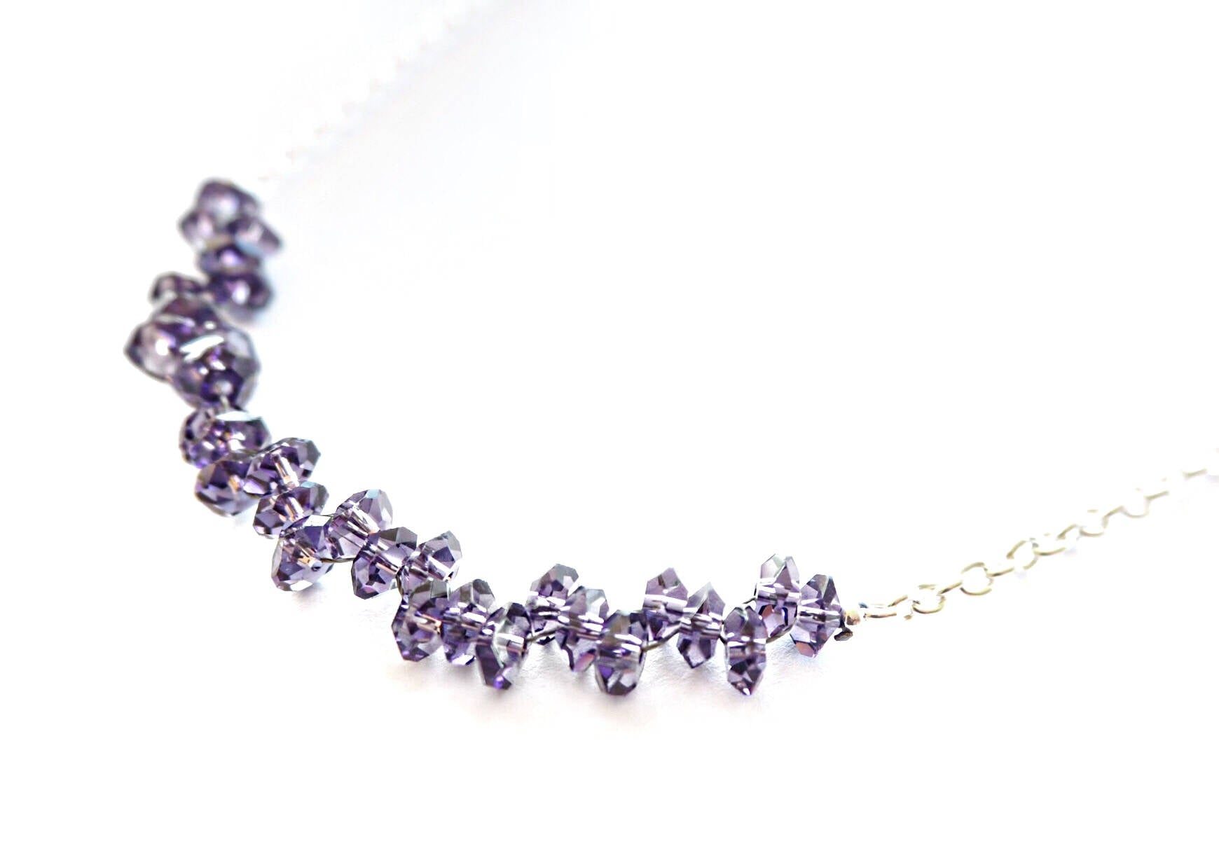 Amethyst quartz rondelles and silver chain necklace