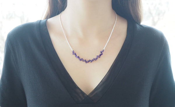 Amethyst quartz and silver chain necklace