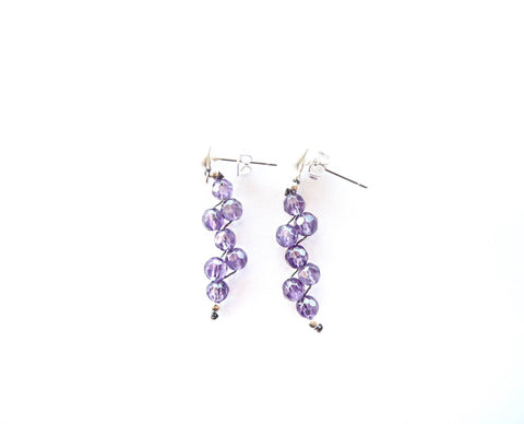 Amethyst quartz and sterling silver earrings