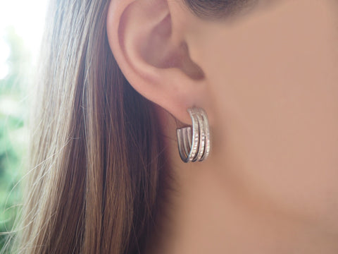 Trio collection - handmade hammered earrings - S and M sizes
