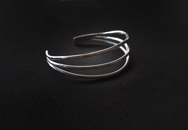 Trio collection - handmade hammered bracelet