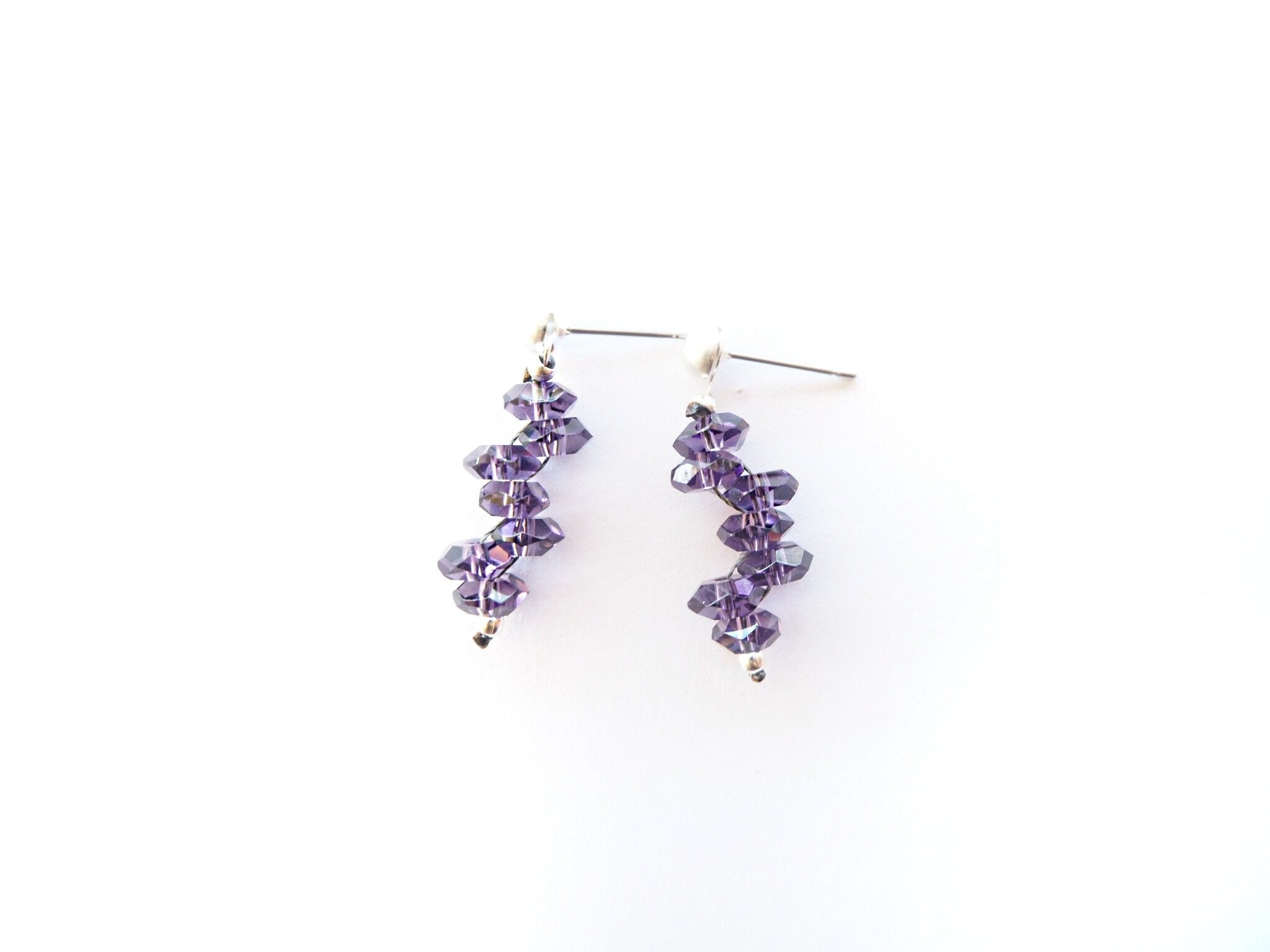 Amethyst quartz rondelle and silver earrings