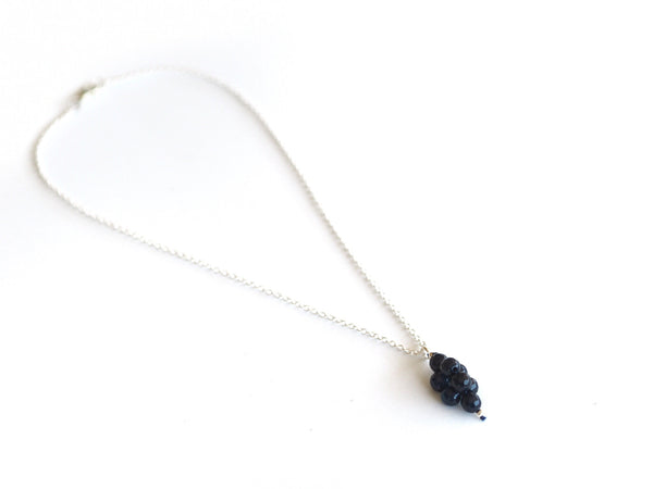 Jade - Blue jade pendant and silver chain necklace