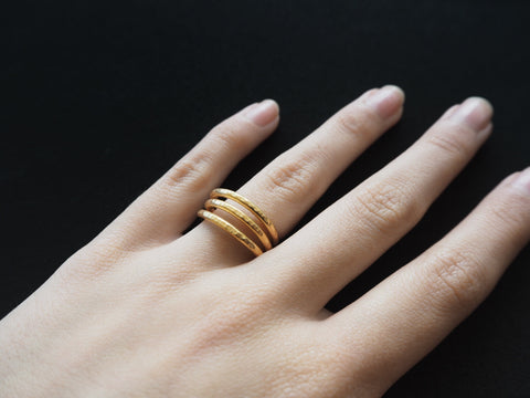 Trio collection - handmade hammered ring