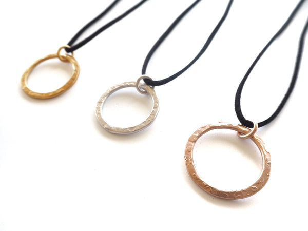 "Textures collection - handmade hammered pendant necklace -  ""Bubbles"" texture"