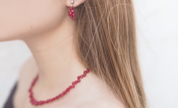 Ruby - Ruby and silver earrings