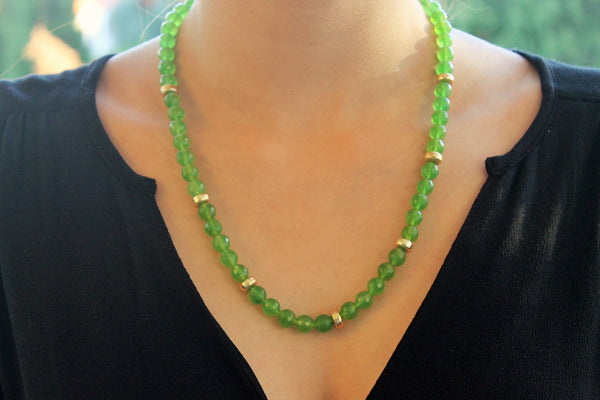 Peridot and goldplated silver necklace