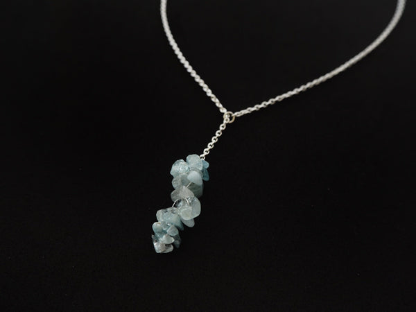 Aquamarine chips pendant and silver chain necklace