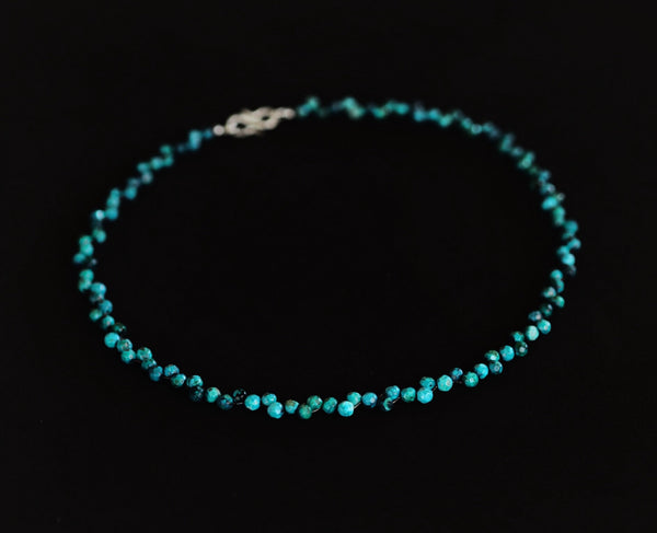 Chrysocolla necklace with sterling silver hook clasp