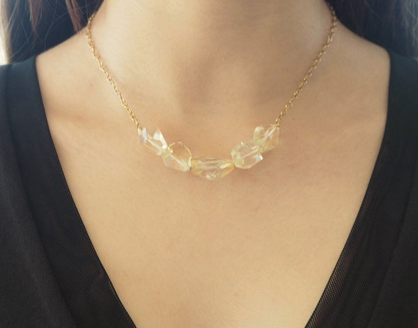 Citrine quartz and goldplated chain necklace