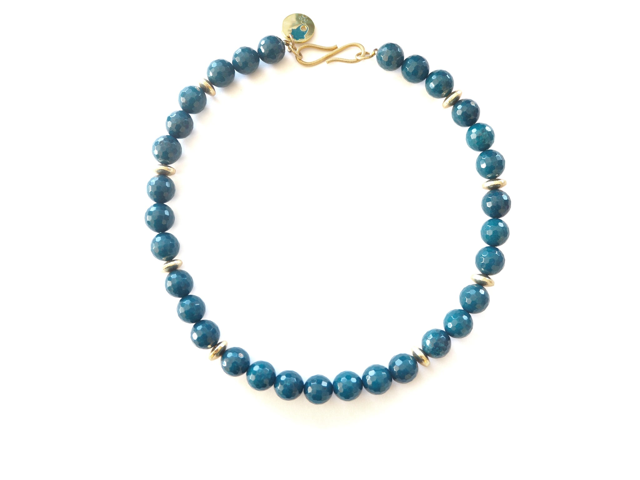 Agate - blue agate necklace with goldplated spacers