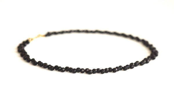 Onyx necklace with sterling silver hook clasp