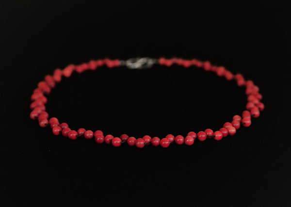 Coral - Red coral necklace with sterling silver hook clasp